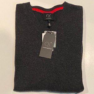 Qi Cashmere Mens Gray 100% Cashmere V-Neck Sweater